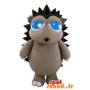 Mascotte grigio e riccio marrone con begli occhi azzurri - MASFR031511 - Mascotte Hedgehog