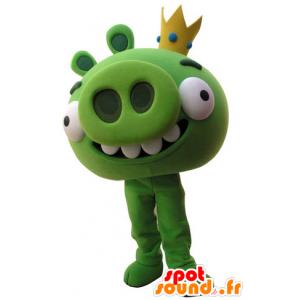Mascotte Angry Birds. Mascotte de cochon vert - MASFR031516 - Mascottes Cochon