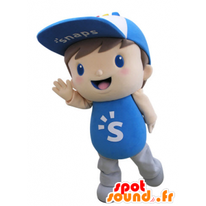 Mascot dressed in blue child with a cap - MASFR031518 - Mascots child