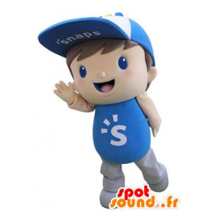 Mascote vestido de criança azul com uma tampa - MASFR031518 - mascotes criança