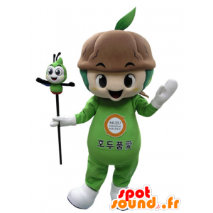Pianta verde con la mascotte del suolo - MASFR031520 - Mascotte di piante