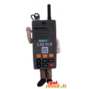 Mascotte de talkie-walkie, de téléphone gris, géant