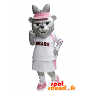Grizzlies mascot dressed in pink and white tennis
