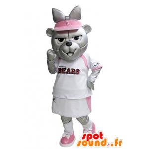 Grå björnmaskot i rosa och vit tennisdräkt - Spotsound maskot