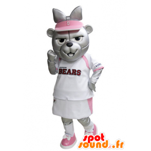 Grizzlies mascot dressed in pink and white tennis - MASFR031528 - Bear mascot