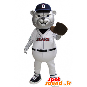 Grizzlies mascot dressed in blue and white baseball - MASFR031529 - Bear mascot