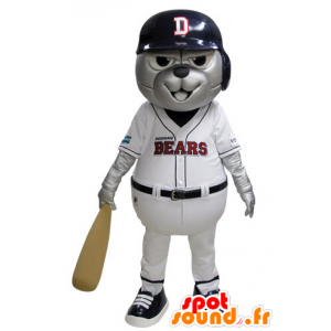 Grizzlies mascot dressed in blue and white baseball