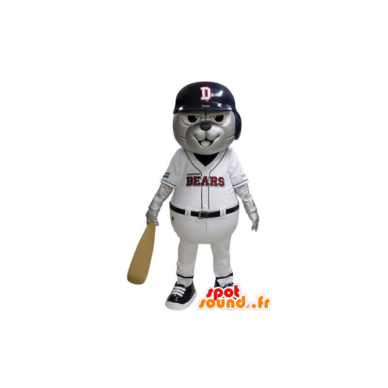Grizzlies mascot dressed in blue and white baseball - MASFR031530 - Bear mascot
