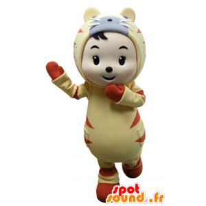 Dítě maskot oblečený ve žluté a oranžové tygr - MASFR031533 - Tiger Maskoti