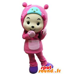 Child mascot dressed all in pink with a hood - MASFR031535 - Mascots child