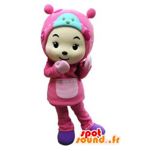 Mascota de niño vestido todo de color rosa con una capucha - MASFR031535 - Niño de mascotas
