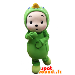 Los niños vestidos de mascota pato verde - MASFR031536 - Mascota de los patos