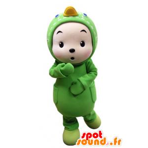 Děti oblečené v zelené kachním maskota - MASFR031536 - maskot kachny