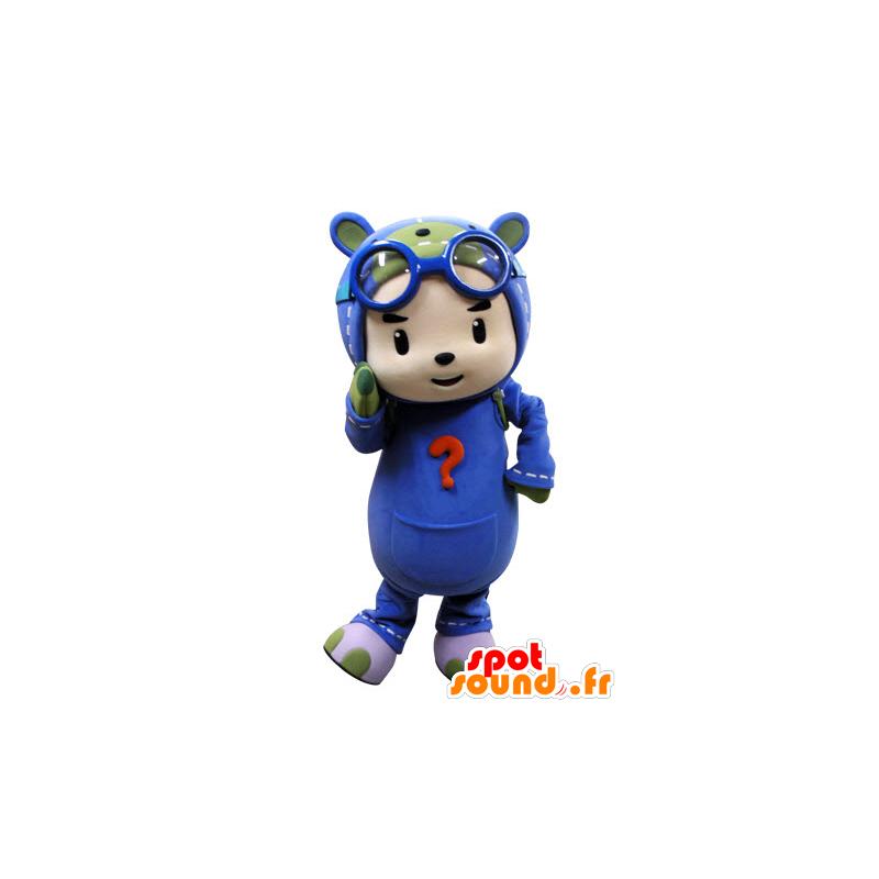Mascotte d'enfant déguisé en parachutiste. Mascotte de pilote - MASFR031537 - Mascottes Enfant