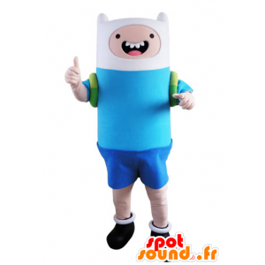 Menino da mascote vestida de azul e branco - MASFR031539 - Mascotes Boys and Girls