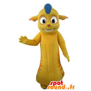 Gelbe Monster Maskottchen und Orange mit spitzen Ohren - MASFR031540 - Monster-Maskottchen