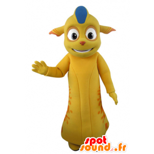 Yellow monster mascot and orange with pointed ears - MASFR031540 - Monsters mascots