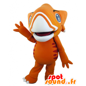 Orange and yellow dinosaur mascot, very impressive - MASFR031542 - Mascots dinosaur