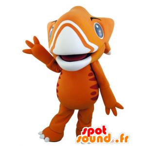 Oransje og gult dinosaur maskot, veldig imponerende - MASFR031542 - Dinosaur Mascot
