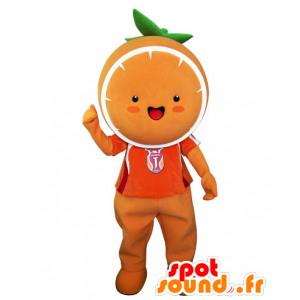 Giant orange mascot. Tangerine mascot - MASFR031543 - Fruit mascot