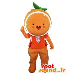 Mascot laranja gigante. Mandarim Mascot - MASFR031543 - frutas Mascot