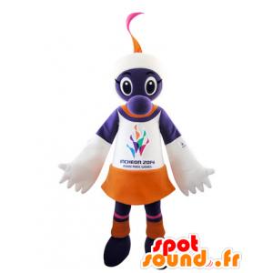Purple creature mascot, white and orange - MASFR031546 - Monsters mascots