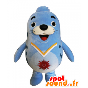 Mascotte d'otarie bleue, de phoque dodu et drôle
