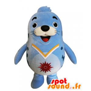 Maskotka niebieski lew morski, pulchny i śmieszne uszczelka