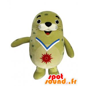 Mascotte del leone di mare verde, grassoccio e sigillo divertente