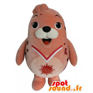 Mascotte d'otarie rose, de phoque dodu et drôle