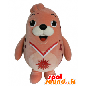 Mascot vaaleanpunainen merileijona, pullea ja hauska sinetti