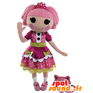 Dressed doll mascot of a beautiful pink dress and green - MASFR031550 - Mascots unclassified