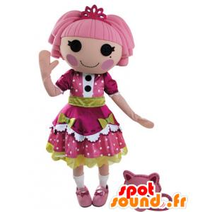 Mascotte de poupée habillée d'une belle robe rose et verte - MASFR031550 - Mascottes non-classées