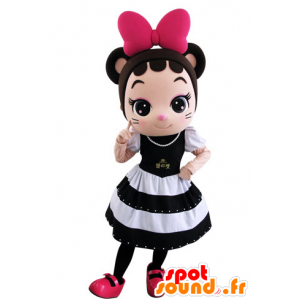 Girl mascot, very elegant mouse with a beautiful dress - MASFR031552 - Mouse mascot
