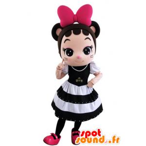 Mascotte ragazza, mouse molto elegante con un bel vestito - MASFR031552 - Mascotte del mouse