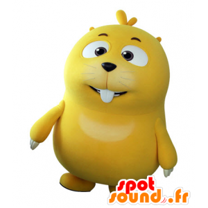 Mascot Mole yellow, plump and cute. Marmot mascot