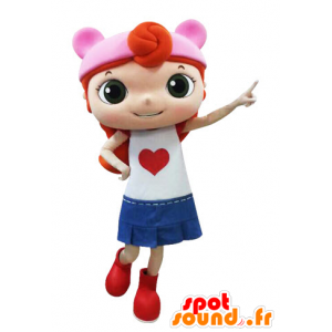 Redhead girl mascot dressed in a skirt - MASFR031557 - Mascots boys and girls