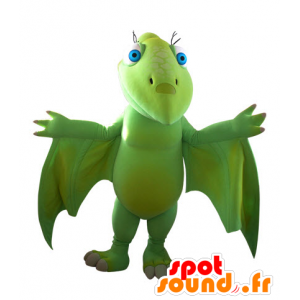 Flying dinosaur mascot, green, impressive - MASFR031561 - Mascots dinosaur
