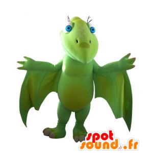 Vliegende dinosaurus mascotte, groen, indrukwekkende - MASFR031561 - Dinosaur Mascot