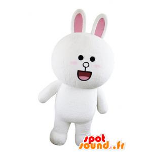 Hvid og lyserød kaninmaskot, fyldig og rund, ser overrasket ud