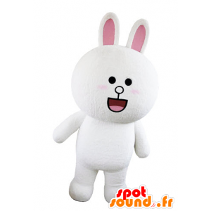 Maskotti valkoinen ja vaaleanpunainen pupu, pullea ja pyöreä hämmästyneenä - MASFR031565 - maskotti kanit