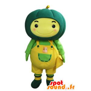 Gele sneeuwman mascotte met een groene pompoen op hoofd - MASFR031567 - man Mascottes