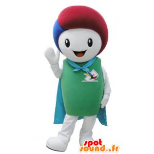 Weißer Schneemann-Maskottchen mit einem Umhang und coloriertes Haar - MASFR031573 - Menschliche Maskottchen