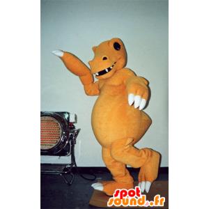 Mascotte de dinosaure orange et blanc, très réaliste et effrayant - MASFR031576 - Mascottes Dinosaure
