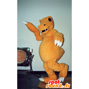 Oranje en wit dinosaurus mascotte, realistische en enge - MASFR031576 - Dinosaur Mascot