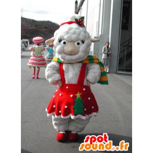 Mascotte de mouton blanc habillé d'une robe rouge de Noël