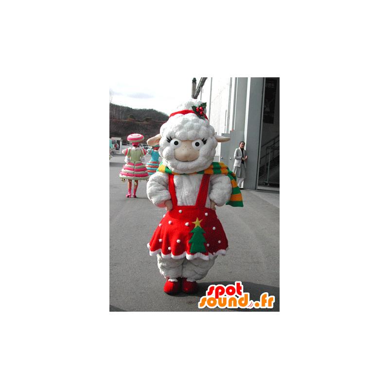 Mascotte de mouton blanc habillé d'une robe rouge de Noël - MASFR031577 - Mascottes Mouton