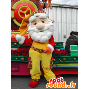 Mascot Santa Claus, dressed in yellow and red - MASFR031578 - Christmas mascots