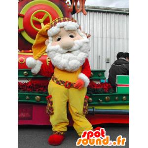 Mascotte de Père-Noël, habillé en jaune et rouge - MASFR031578 - Mascottes Noël