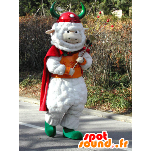 Mascotte de mouton blanc avec une cape et un casque de Viking